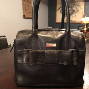 Kate Spade Black Leather Satchel with Bow crossbod